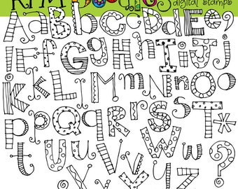 KPM Alphabet soup digital black line clip art