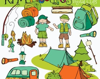 KPM Camping out digital clipart COMBO
