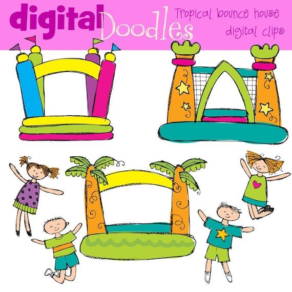 KPM tropical bounce house digital clipart