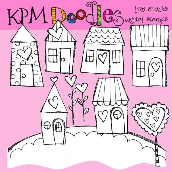KPM Love Shacks Digital Black Line stamps