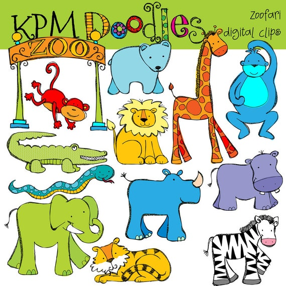 KPM Zoofari Digital Clip art COMBO