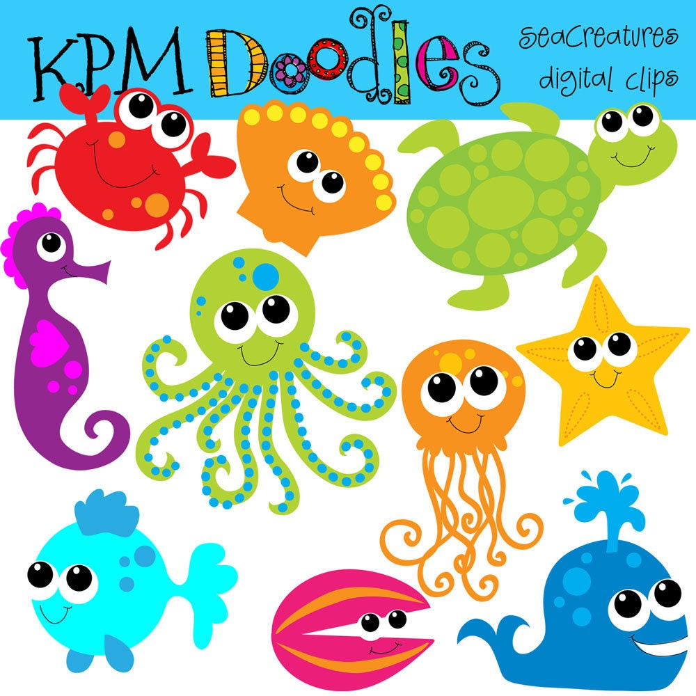 KPM Bright Sea Creatures Digital Clip Art