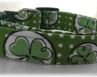 Dog Collar Shamrocks Dots Luck of the Irish for St Patricks Day Adjustable Dog Collar w D Ring  Choose Size Holiday Rainbow Pot of Gold