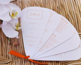 50 Wedding Perforated Program Fan Sheets