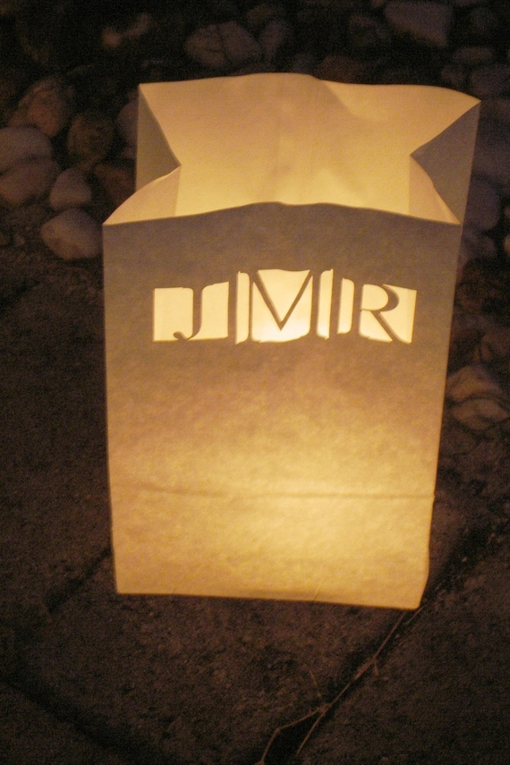 Personalized Wedding Candle Luminary Bag (White) with Custom Laser Cut Monogram