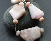 Pink Opal  Necklace / Modern Jewelry Chunky Boho Chic Beaded Natural Gemstones Geometric Feminine Edgy