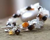Urban Safari Bracelet  - Tribal Khaki Neutral Rustic Boho Chic Beaded Gemstone and Sterling Siilver Bracelet with Toggle Clasp