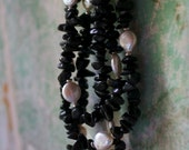 Black Stone Necklace / Onyx And Pearl Triple Strand Beaded Statement Necklace / Chunky Boho Couture Necklace