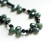 Moss and Black Beaded Necklace / Obsidian Jasper Sterling Silver  Art Deco  Bohemian Chic Gemstone Jewelry