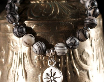 Grey Stone Yoga Bracelet - Black Gemstone Modern Tribal Jewelry Stacking Boho Bracelet Grey Silver