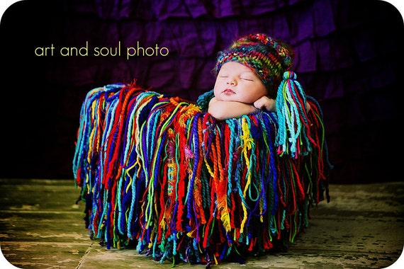 Newborn Photography Prop Multi Colored Hat with Tassel