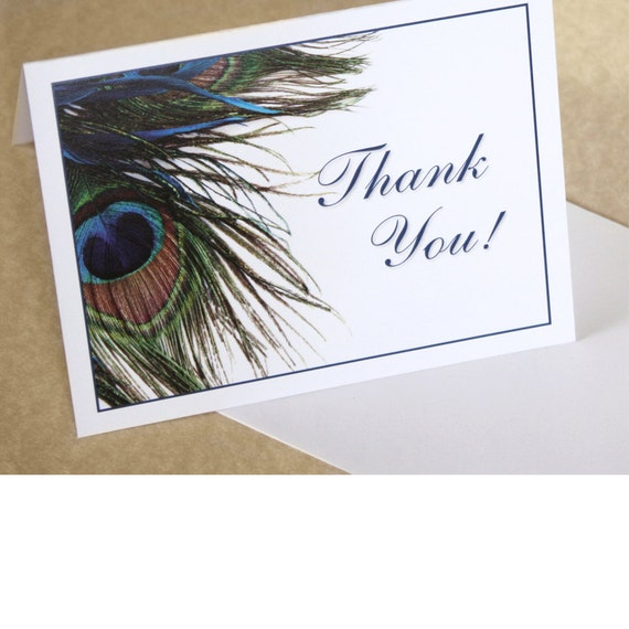 Peacock Feather Thank You Card, Thank You Note, DEPOSIT