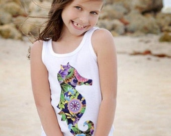 Size 8 Girls Applique Tank Top Floral Seahorse Beach Shirt White Navy Pink Ready to Ship Ocean Gold Sea Life