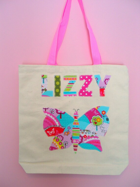 Butterfly Girls Personalized Tote Bag Name Applique Up to Seven Letters Childrens Canvas Bag