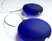 Modern Cobalt Blue Sea Glass Earrings- Big Mod Dots