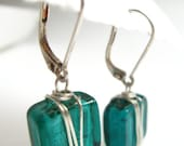 Teal Glass Earrings, Wire Wrapped Venetian Glass Squares