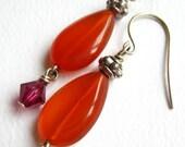 Orange Red Agate Teardrop Earrings With Fuchsia Swarovski Crystal Dangle