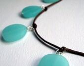 RESERVED Modern Necklace, Aqua Blue Sea Glass Pendants