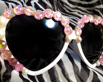 Heart Sunglasses White w/Pearls, Pink AB Crystals