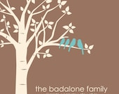 "Anniversary Gift - Gift for Mom - Mother of Bride Gift -Personalized Custom Love Birds Family Tree - 8""x10"" (TealBlue/Ivory/DarkTan)"