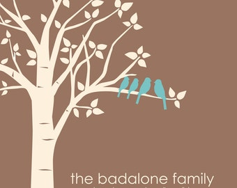 "Valentine's Day Gift for Wife Gift for Mom Personalized Custom Love Birds Family Tree Anniversary Wedding Gift - 11""x14"" You Choose Colors"