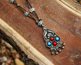 Old World Turquoise Blue, Red & Silver Necklace - Pendant with Bells