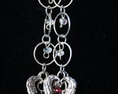 Hearts 925 Sterling Silver Chain Earrings Garnet Crystal and keishi pearl French Wire and Angel Wings Heart