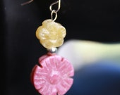 Spring Flowers French Wire Hook Sterling Silver 925 earrings with Pink and yellow Agate Jade Gemstone