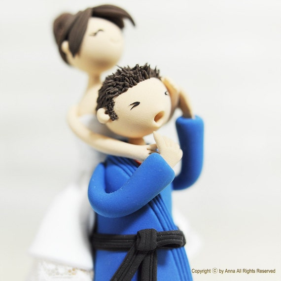 Wedding Cake Topper - Custom Cake Topper - Jiu jitsu Cake Topper - Funny Cake Topper - Martial Arts Cake Topper