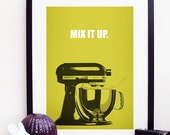 Kitchen Aid Mix It Up A4 Poster Yellow
