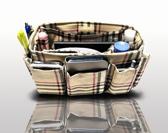 Purse ORGANIZER Insert Bag and Purse Organizer / Khaki Plaid / Large 25x10cm