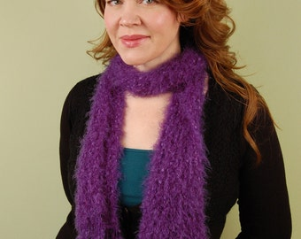 hand knit scarf- Snuggly Grape