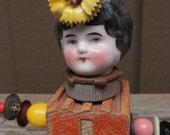 Antique Frozen Charlotte Assemblage Art Baby Block Doll