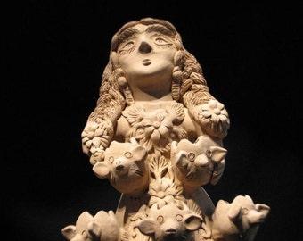 Folk Art, Original Clay Sculpture by Master Artist: Irma Garcia Blanco, Atzompa, Oaxaca, Mexico