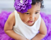Large Purple Peony on Skinny Headband (Infant, Toddler, Child)  Great Photo Prop
