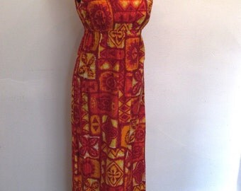 1960s Hawaiian Summer Maxi Dress / Burning for You
