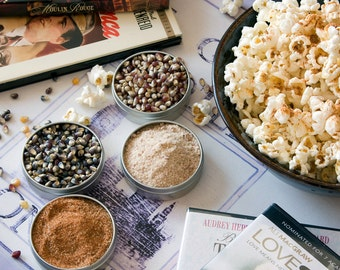 Flavored popcorn sampler - gift set of gourmet popcorn kernels, popcorn seasonings - unique foodie gift