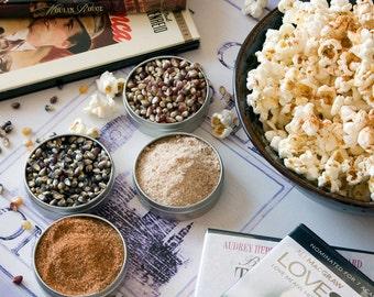 Flavored popcorn sampler - gift set of gourmet popcorn kernels, popcorn seasonings - unique foodie gift