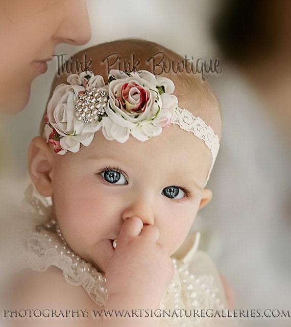 Baby Headband, flower headband,baby headbands,newborn headband, baby girl headband, christening headband, baptism headband, Baby Bows,#29