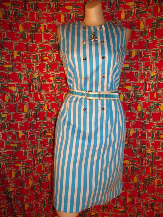 Vintage 60's white and turquoise ocean blue striped nautical bombshell double breasted cotton dress