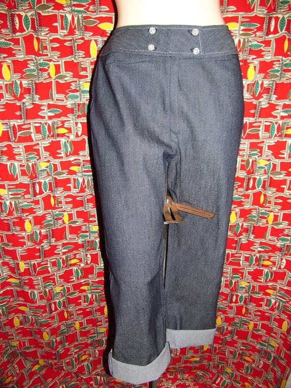 Vintage deadstock 60's denim jeans stretchy pants with red and white polka dots lining by Alpaq.
