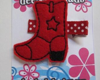 Red & Black Cowboy Boot Hair Clip