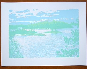 Island Lake Screen Print Poster