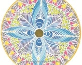"Handpainted Silk Hoop Windowhanging ""Blue Compass Rose"""