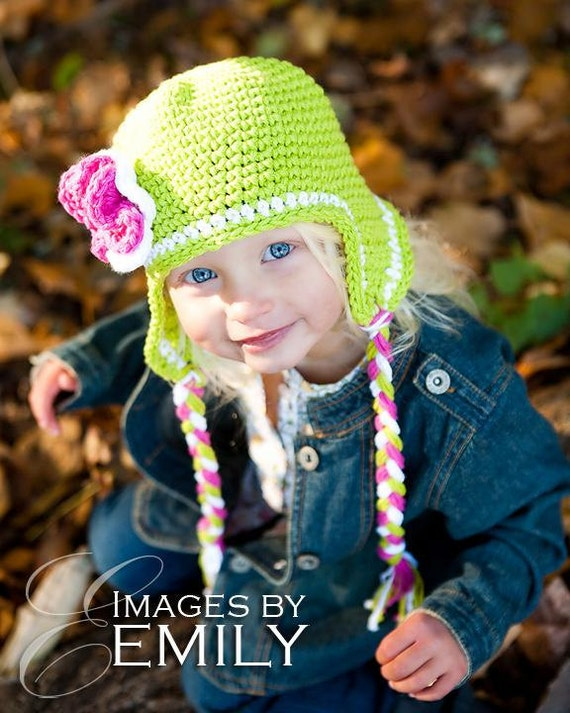 Green Earflap Hat with 3 small button on flowers in your choice of colors (sizes fit newborn to 4T)