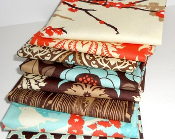 HALF YARD Bundle - AVIARY 2 - Joel Dewberry - Saffron Palette - Free Spirit Fabric - 8 pcs