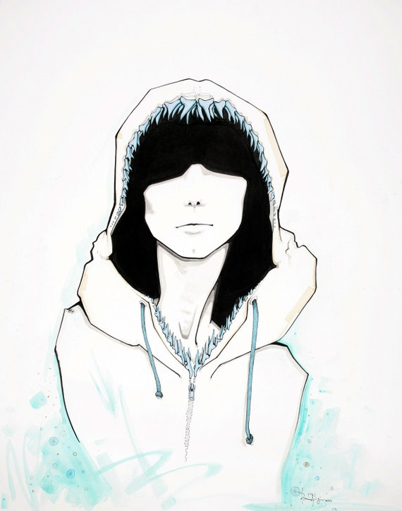 END OF EDITION: art print, girl with shark jaw/ shark tooth hoodie, black and white