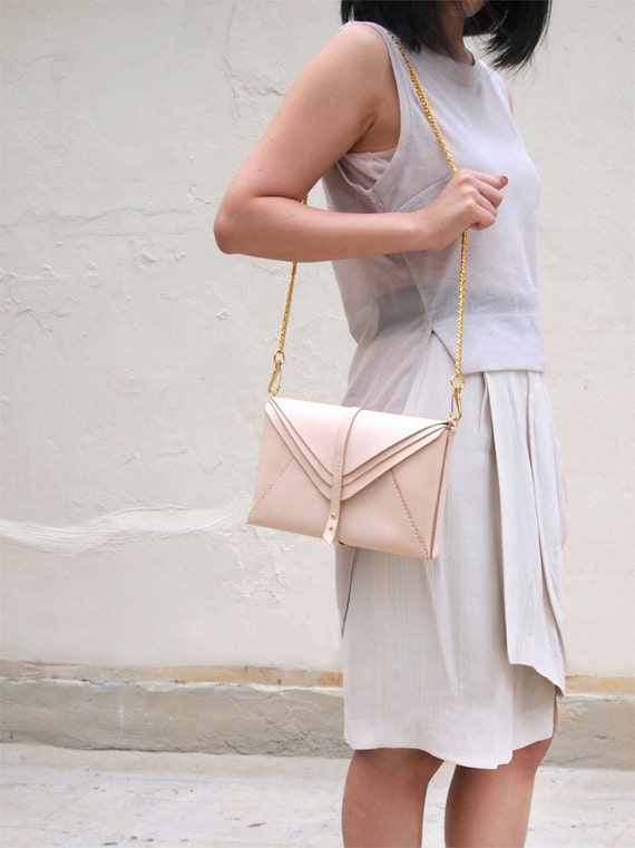 Multi Envelope Leather Clutch with Chain Shoulder Strap, Natural color, Hand Stitched by Harlex
