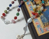 Millefiori Glass Anglican Prayer Beads with Artisan Sterling Silver Cross