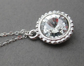 Crystal and Silver Necklace -- Through the Looking Glass -- Swarovski Crystal Rivoli and Silver, Crystal Clear